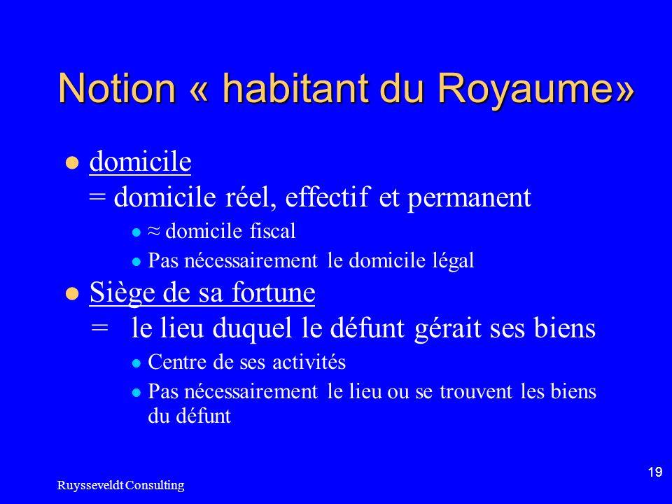 Ruysseveldt Consulting 19 Notion « habitant du Royaume» domicile = domicile réel, effectif et permanent domicile fiscal Pas nécessairement le domicile