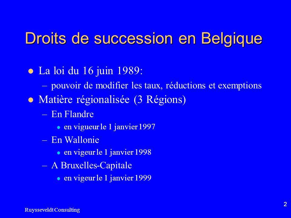 Ruysseveldt Consulting 2 Droits de succession en Belgique La loi du 16 juin 1989: –pouvoir de modifier les taux, réductions et exemptions Matière régionalisée (3 Régions) –En Flandre en vigueur le 1 janvier 1997 –En Wallonie en vigeur le 1 janvier 1998 –A Bruxelles-Capitale en vigeur le 1 janvier 1999