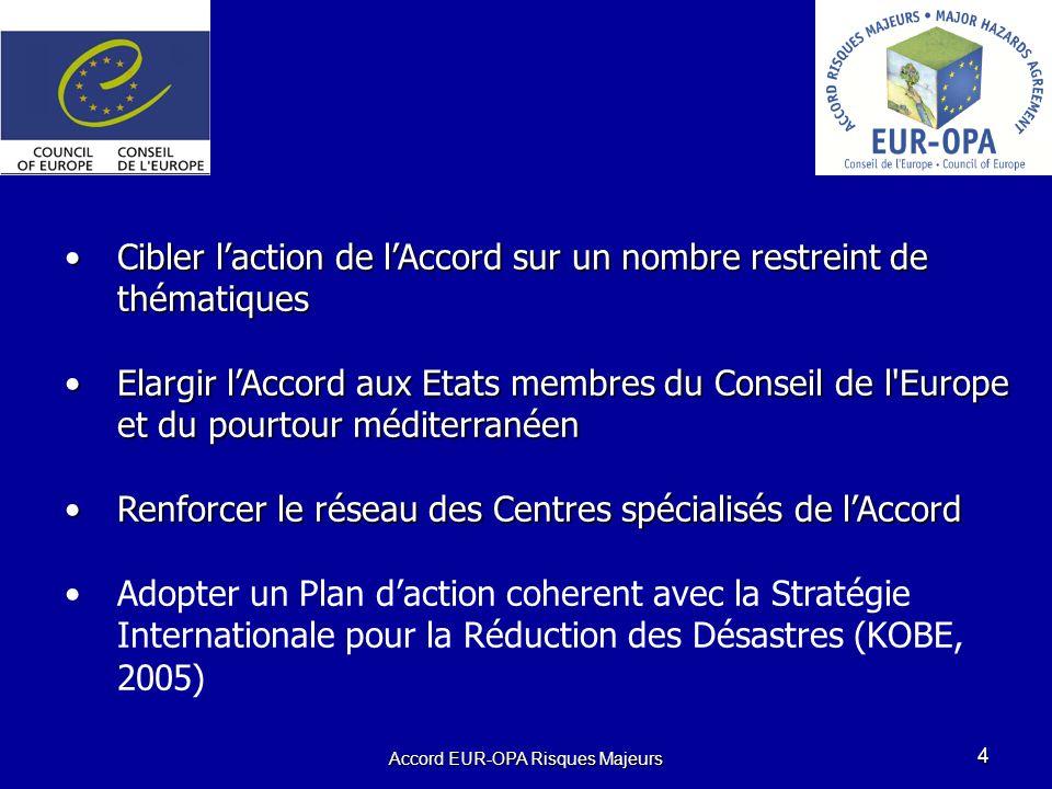 Accord EUR-OPA Risques Majeurs 4 Cibler laction de lAccord sur un nombre restreint de thématiquesCibler laction de lAccord sur un nombre restreint de thématiques Elargir lAccord aux Etats membres du Conseil de l Europe et du pourtour méditerranéenElargir lAccord aux Etats membres du Conseil de l Europe et du pourtour méditerranéen Renforcer le réseau des Centres spécialisés de lAccordRenforcer le réseau des Centres spécialisés de lAccord Adopter un Plan daction coherent avec la Stratégie Internationale pour la Réduction des Désastres (KOBE, 2005)