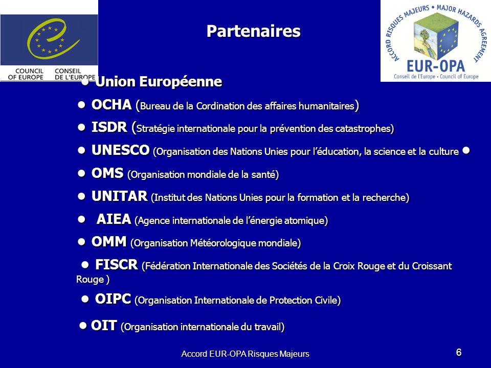 Accord EUR-OPA Risques Majeurs 6 Union Européenne OCHA ( Bureau de la Cordination des affaires humanitaires ) ISDR ( Stratégie internationale pour la prévention des catastrophes) UNESCO (Organisation des Nations Unies pour léducation, la science et la culture OMS (Organisation mondiale de la santé) UNITAR (Institut des Nations Unies pour la formation et la recherche) AIEA (Agence internationale de lénergie atomique) OMM (Organisation Météorologique mondiale) FISCR (Fédération Internationale des Sociétés de la Croix Rouge et du Croissant Rouge ) OIPC (Organisation Internationale de Protection Civile) OIT (Organisation internationale du travail) Union Européenne OCHA ( Bureau de la Cordination des affaires humanitaires ) ISDR ( Stratégie internationale pour la prévention des catastrophes) UNESCO (Organisation des Nations Unies pour léducation, la science et la culture OMS (Organisation mondiale de la santé) UNITAR (Institut des Nations Unies pour la formation et la recherche) AIEA (Agence internationale de lénergie atomique) OMM (Organisation Météorologique mondiale) FISCR (Fédération Internationale des Sociétés de la Croix Rouge et du Croissant Rouge ) OIPC (Organisation Internationale de Protection Civile) OIT (Organisation internationale du travail) Partenaires