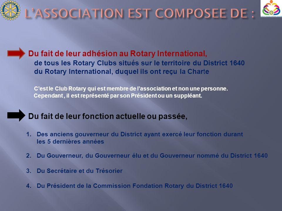 Du fait de leur adhésion au Rotary International, de tous les Rotary Clubs situés sur le territoire du District 1640 du Rotary International, duquel i