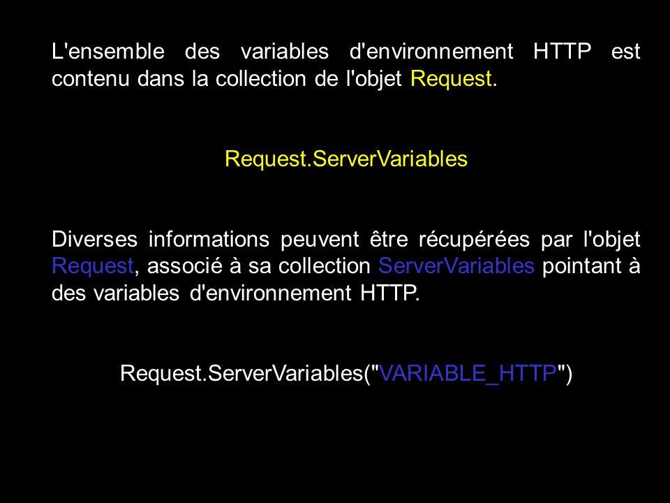 L ensemble des variables d environnement HTTP est contenu dans la collection de l objet Request.