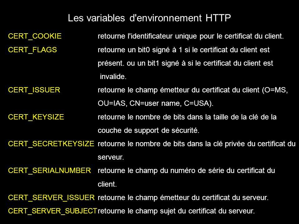Les variables d environnement HTTP CERT_COOKIEretourne l identificateur unique pour le certificat du client.