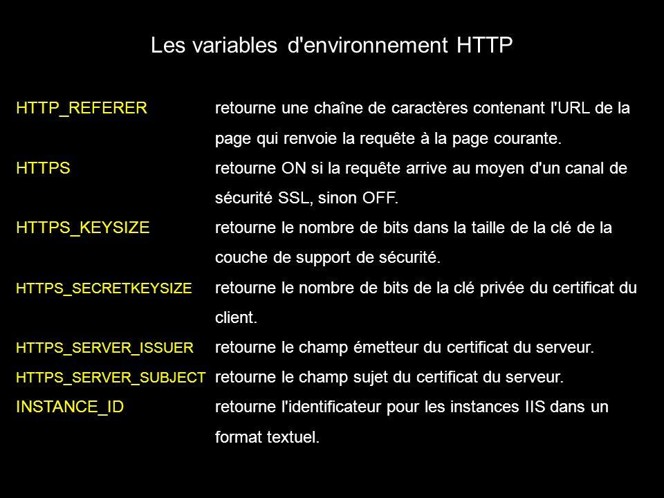 Les variables d environnement HTTP HTTP_REFERERretourne une chaîne de caractères contenant l URL de la page qui renvoie la requête à la page courante.