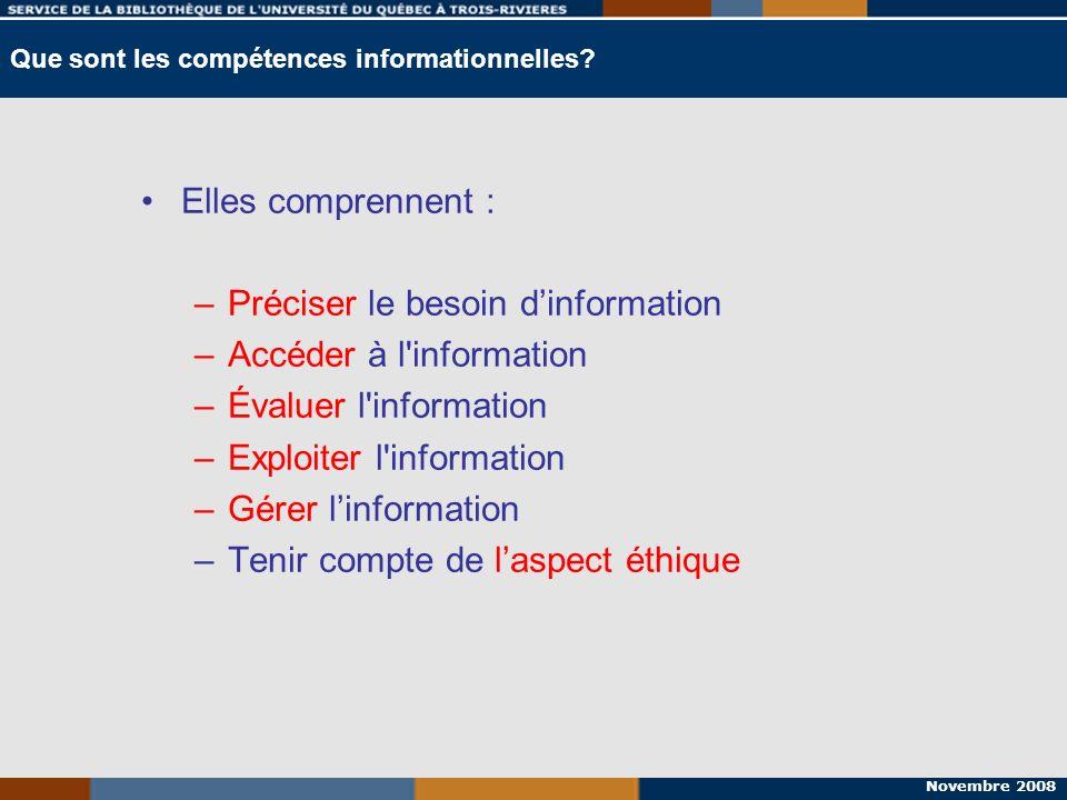 Novembre 2008 Elles comprennent : –Préciser le besoin dinformation –Accéder à l'information –Évaluer l'information –Exploiter l'information –Gérer lin