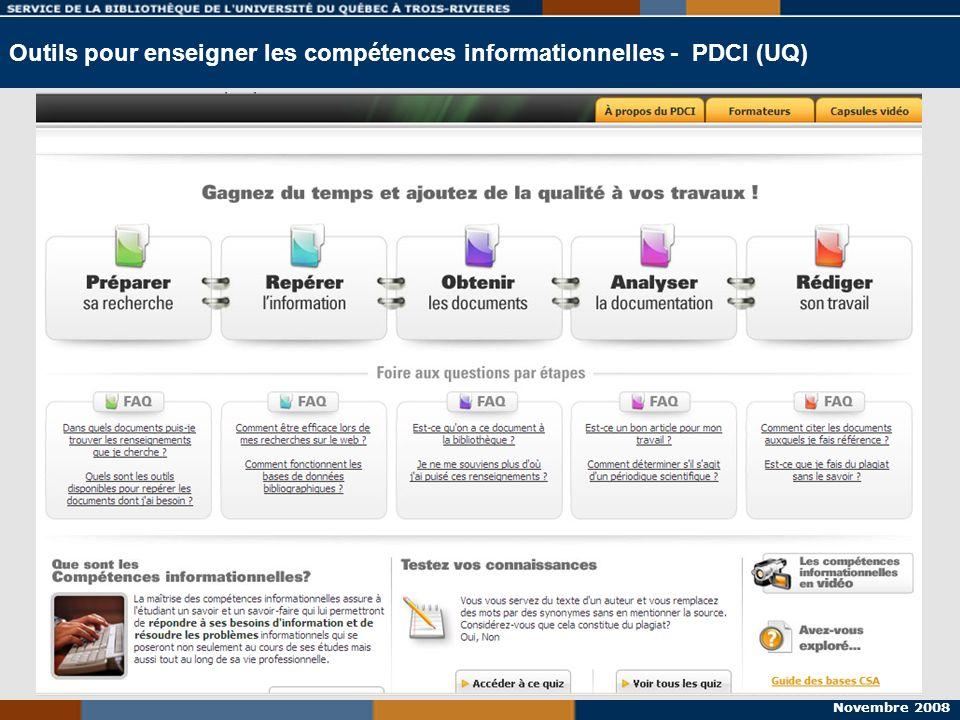 Outils pour enseigner les compétences informationnelles - PDCI (UQ)