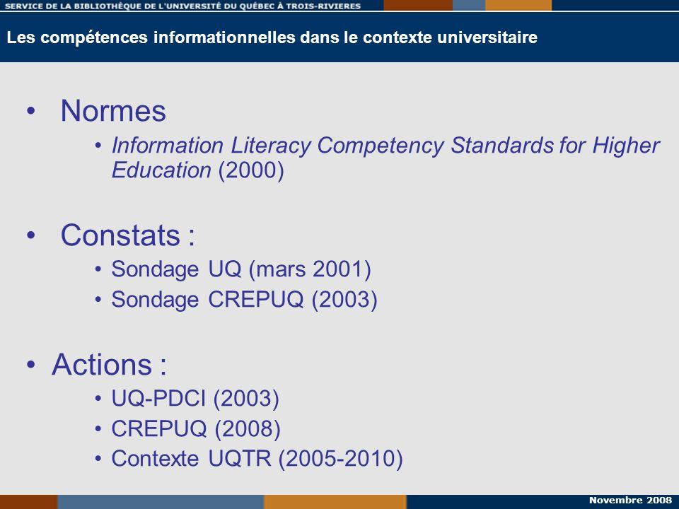 Novembre 2008 Étape 1: définir ses besoins Norme 1 Étape 2: préparer la recherche Norme 1, 2 Étape 3: effectuer la recherche Norme 2 Étape 4: localiser les documents Norme 2 Étape 5: consulter et analyser les documents trouvés Norme 3, 4 Étape 6: rédiger son travail Norme 4, 5 Étape 7: citer ses sources Norme 6 Les étapes de la recherche VS normes de compétence informationnelle