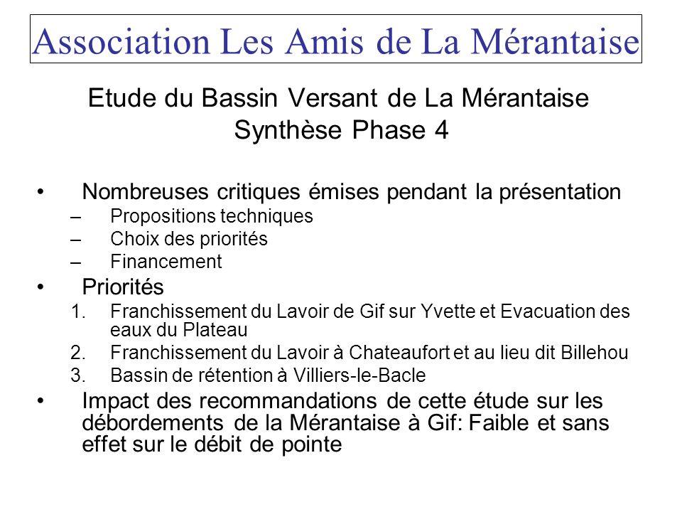 Association Les Amis de La Mérantaise Etude du Bassin Versant de La Mérantaise Synthèse Phase 4 Nombreuses critiques émises pendant la présentation –P