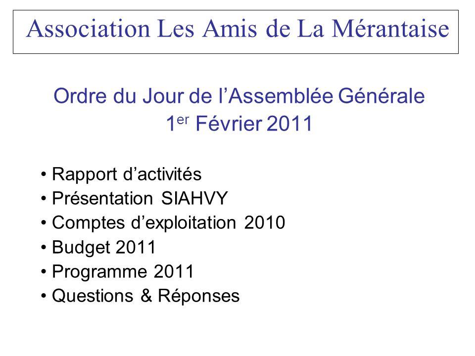 Ordre du Jour de lAssemblée Générale 1 er Février 2011 Rapport dactivités Présentation SIAHVY Comptes dexploitation 2010 Budget 2011 Programme 2011 Qu