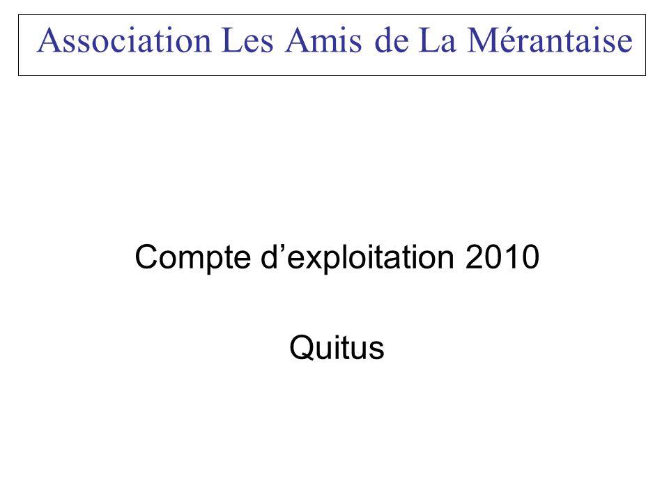 Association Les Amis de La Mérantaise Compte dexploitation 2010 Quitus