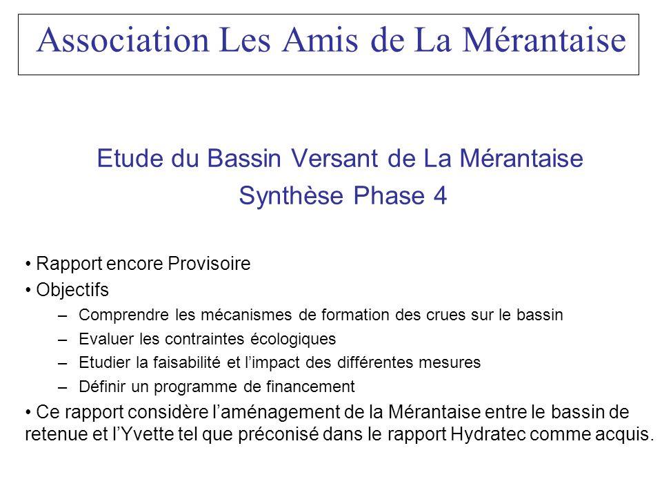 Association Les Amis de La Mérantaise Etude du Bassin Versant de La Mérantaise Synthèse Phase 4 Rapport encore Provisoire Objectifs –Comprendre les mé