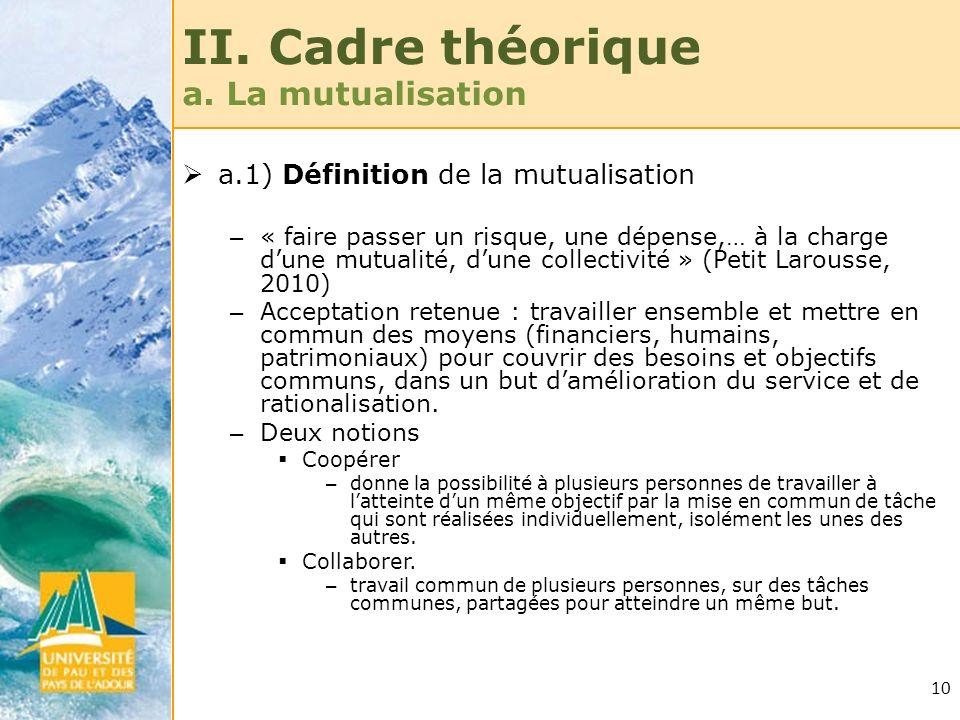 10 II. Cadre théorique a. La mutualisation a.1) Définition de la mutualisation – « faire passer un risque, une dépense,… à la charge dune mutualité, d