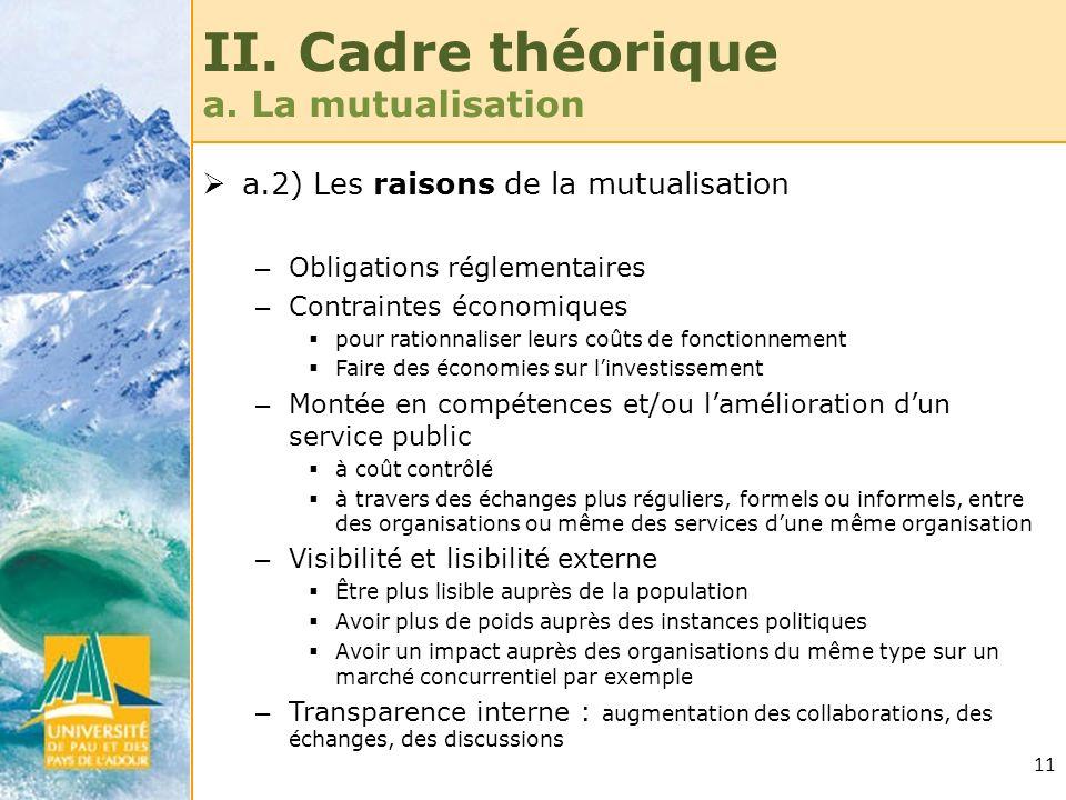 11 II. Cadre théorique a. La mutualisation a.2) Les raisons de la mutualisation – Obligations réglementaires – Contraintes économiques pour rationnali