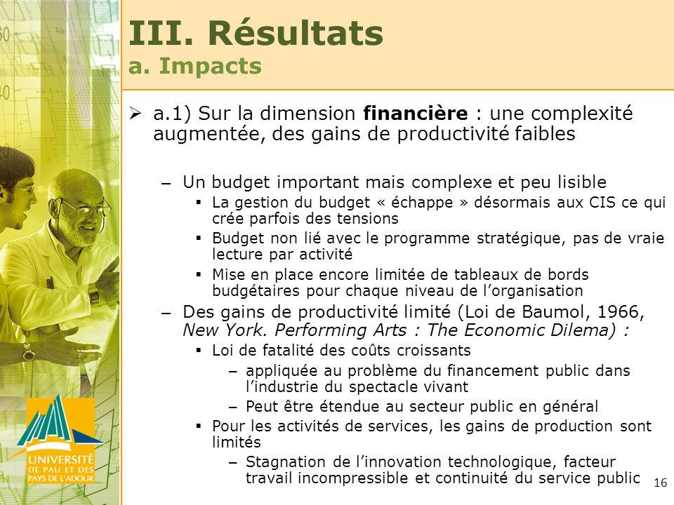 16 III. Résultats a. Impacts a.1) Sur la dimension financière : une complexité augmentée, des gains de productivité faibles – Un budget important mais