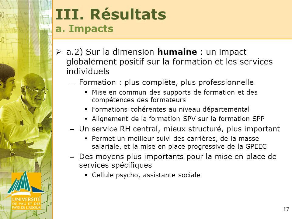 17 III. Résultats a. Impacts a.2) Sur la dimension humaine : un impact globalement positif sur la formation et les services individuels – Formation :