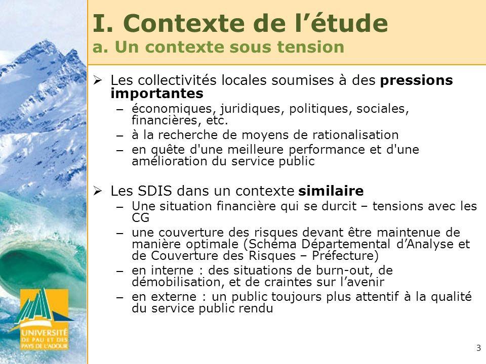 3 I. Contexte de létude a. Un contexte sous tension Les collectivités locales soumises à des pressions importantes – économiques, juridiques, politiqu