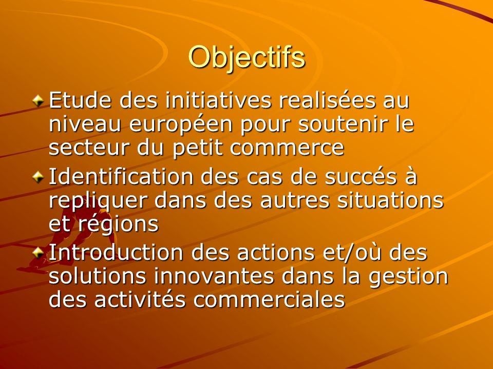 Objectifs Etude des initiatives realisées au niveau européen pour soutenir le secteur du petit commerce Identification des cas de succés à repliquer dans des autres situations et régions Introduction des actions et/où des solutions innovantes dans la gestion des activités commerciales