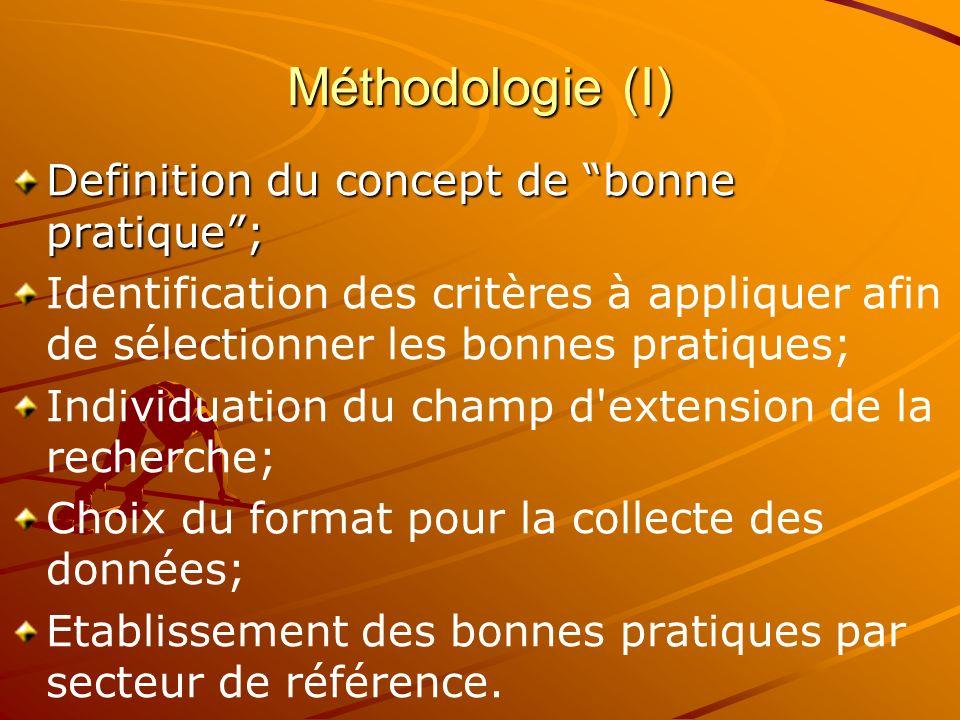 Méthodologie (I) Definition du concept de bonne pratique; Identification des critères à appliquer afin de sélectionner les bonnes pratiques; Individuation du champ d extension de la recherche; Choix du format pour la collecte des données; Etablissement des bonnes pratiques par secteur de référence.