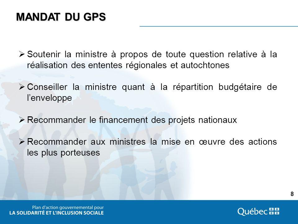 8 MANDAT DU GPS Soutenir la ministre à propos de toute question relative à la réalisation des ententes régionales et autochtones Conseiller la ministre quant à la répartition budgétaire de lenveloppe Recommander le financement des projets nationaux Recommander aux ministres la mise en œuvre des actions les plus porteuses