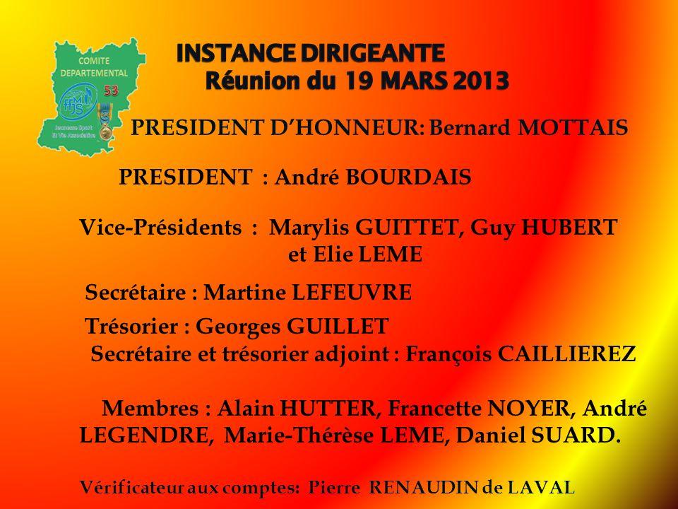 PRESIDENT DHONNEUR: Bernard MOTTAIS PRESIDENT : André BOURDAIS Vice-Présidents : Marylis GUITTET, Guy HUBERT et Elie LEME Secrétaire : Martine LEFEUVR