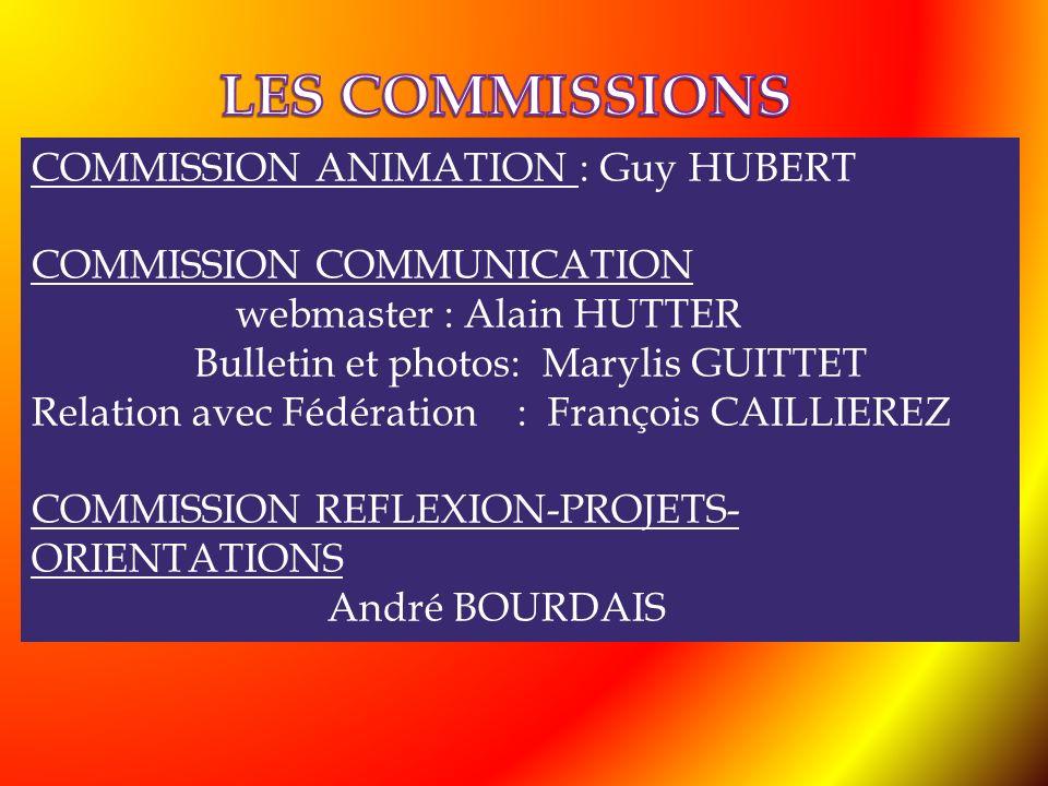 COMMISSION ANIMATION : Guy HUBERT COMMISSION COMMUNICATION webmaster : Alain HUTTER Bulletin et photos: Marylis GUITTET Relation avec Fédération : Fra