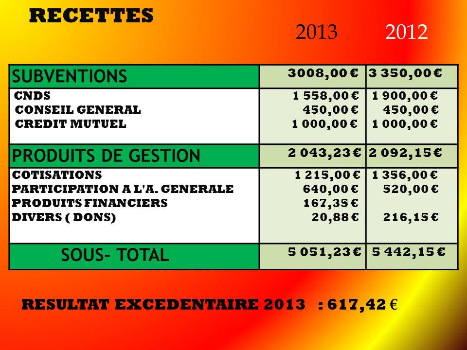 RECETTES SUBVENTIONS 3008,00 3 350,00 CNDS CONSEIL GENERAL CREDIT MUTUEL 1 558,00 450,00 1 000,00 1 900,00 450,00 1 000,00 PRODUITS DE GESTION 2 043,2