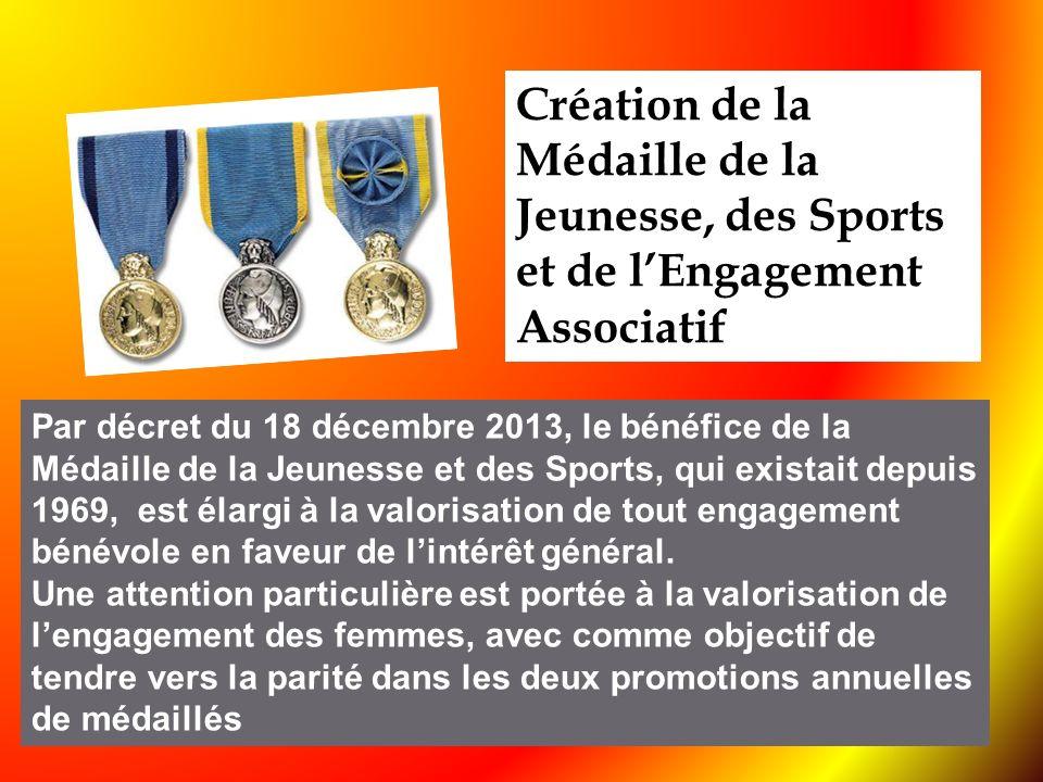 Par décret du 18 décembre 2013, le bénéfice de la Médaille de la Jeunesse et des Sports, qui existait depuis 1969, est élargi à la valorisation de tou