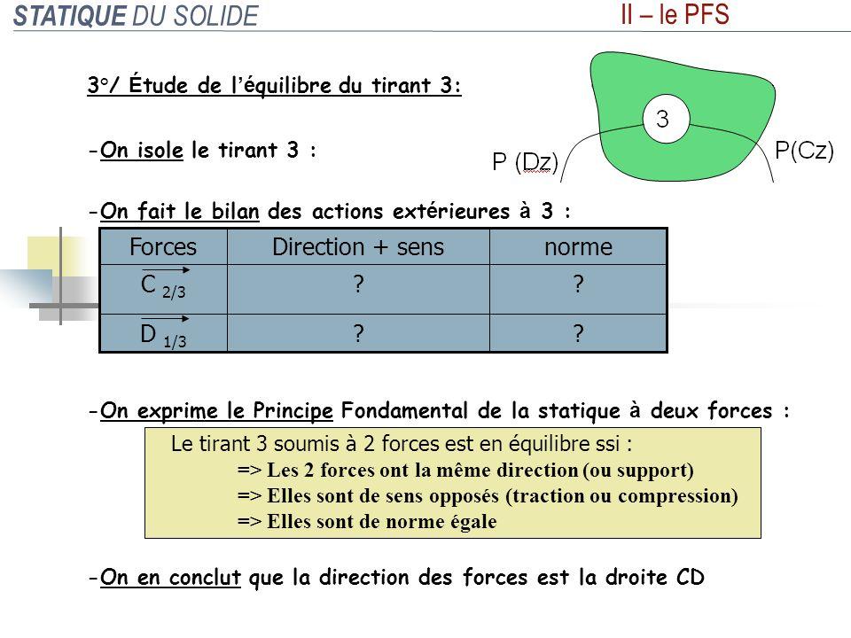 STATIQUE DU SOLIDE II – le PFS 3°/ É tude de l é quilibre du tirant 3: -On isole le tirant 3 : -On exprime le Principe Fondamental de la statique à de