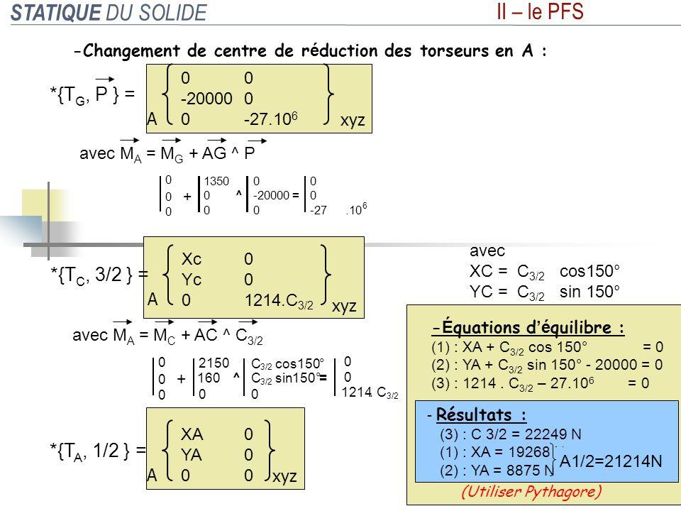 STATIQUE DU SOLIDE II – le PFS -Changement de centre de r é duction des torseurs en A : 0 1214.C 3/2 A xyz Xc Yc 0 *{T C, 3/2 } = avec XC = C 3/2 cos1