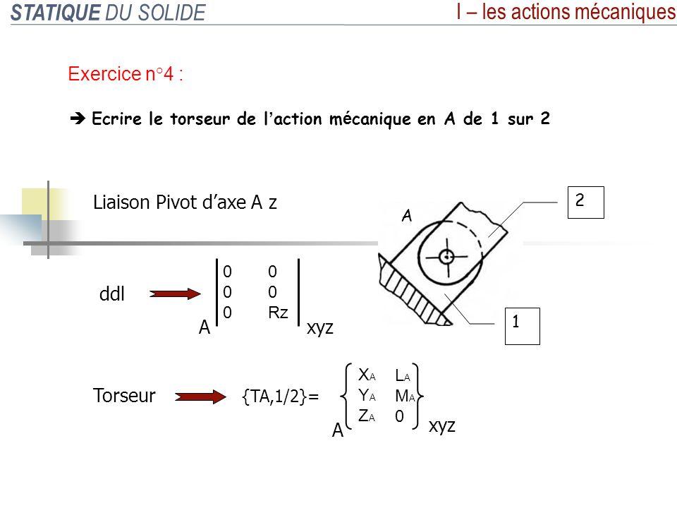 STATIQUE DU SOLIDE I – les actions mécaniques Exercice n°5 : Mod é liser les actions m é caniques du poids P et du v é rin 4 Données : Diamètre piston 4 : 30 mm Pression utilisée : 50 bars 70° 0 -500daN 0 P 000000 M L (P ) 000000 {T L, P } = L xyz 0 -500 0 000000 M G (G 4/5 ) 000000 {T G, 4/5 } = G xyz 121daN 332daN 0 G 4/5 XG = G cos70° YG = G sin70° 0 G 4/5 Avec G = p.