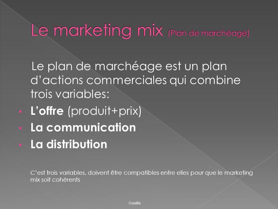 Le plan de marchéage est un plan dactions commerciales qui combine trois variables: Loffre (produit+prix) La communication La distribution Cest trois