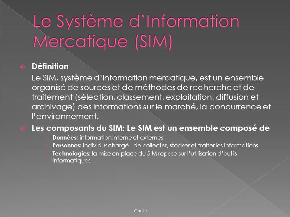 Définition Le SIM, système dinformation mercatique, est un ensemble organisé de sources et de méthodes de recherche et de traitement (sélection, class