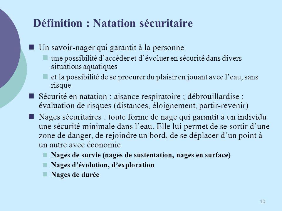 Définition : Natation sécuritaire Un savoir-nager qui garantit à la personne une possibilité daccéder et dévoluer en sécurité dans divers situations a