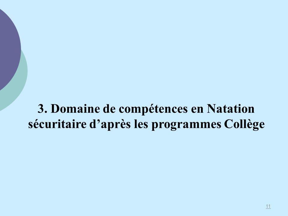 11 3. Domaine de compétences en Natation sécuritaire daprès les programmes Collège