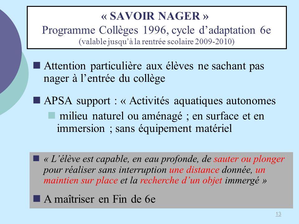 « SAVOIR NAGER » Programme Collèges 1996, cycle dadaptation 6e (valable jusquà la rentrée scolaire 2009-2010) Attention particulière aux élèves ne sac