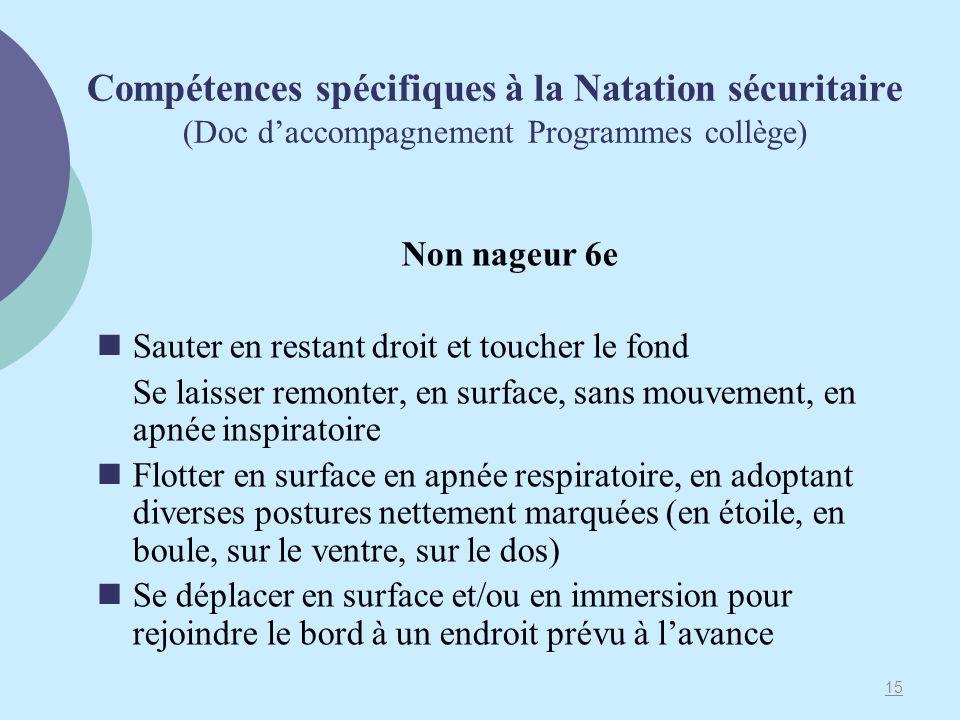 Compétences spécifiques à la Natation sécuritaire (Doc daccompagnement Programmes collège) Non nageur 6e Sauter en restant droit et toucher le fond Se