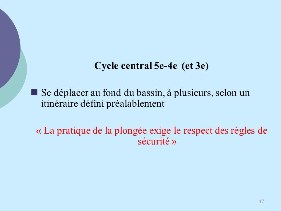 Cycle central 5e-4e (et 3e) Se déplacer au fond du bassin, à plusieurs, selon un itinéraire défini préalablement « La pratique de la plongée exige le respect des règles de sécurité » 17