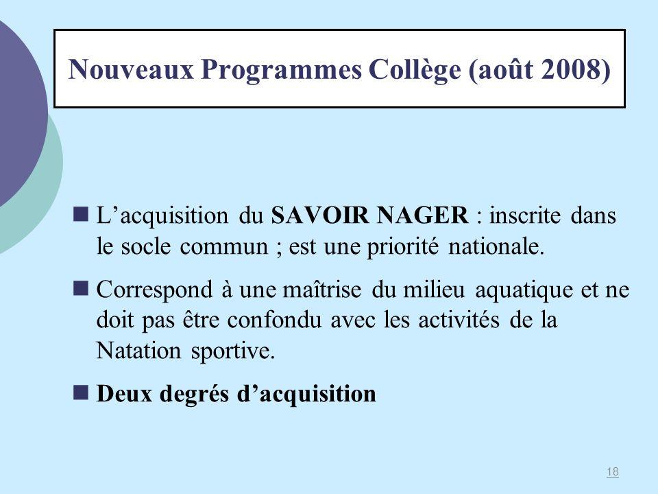 Nouveaux Programmes Collège (août 2008) Lacquisition du SAVOIR NAGER : inscrite dans le socle commun ; est une priorité nationale. Correspond à une ma