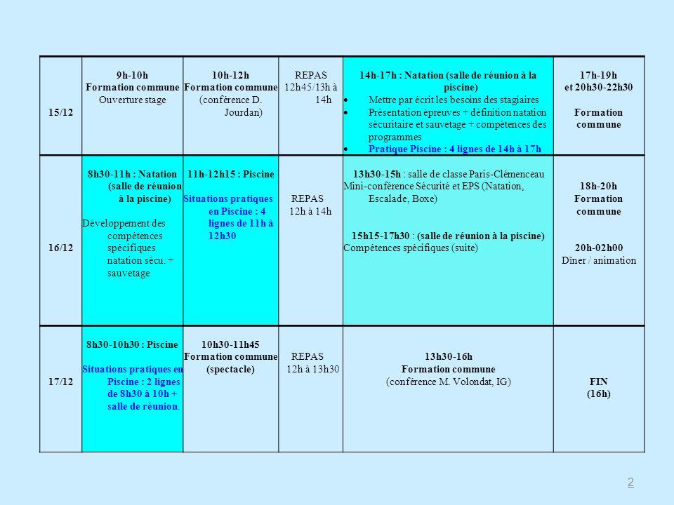 15/12 9h-10h Formation commune Ouverture stage 10h-12h Formation commune (conférence D. Jourdan) REPAS 12h45/13h à 14h 14h-17h : Natation (salle de ré