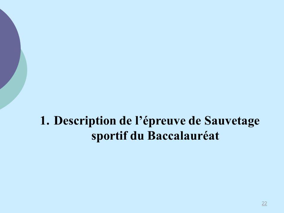 22 1. Description de lépreuve de Sauvetage sportif du Baccalauréat