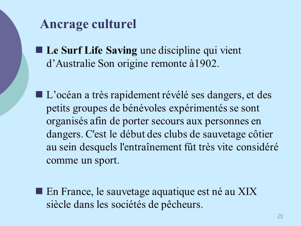 Ancrage culturel Le Surf Life Saving une discipline qui vient dAustralie Son origine remonte à1902. Locéan a très rapidement révélé ses dangers, et de