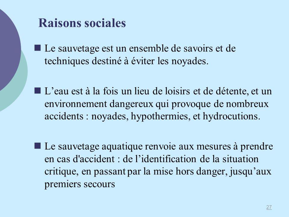 Raisons sociales Le sauvetage est un ensemble de savoirs et de techniques destiné à éviter les noyades.