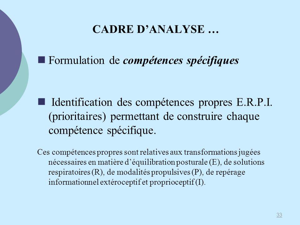 CADRE DANALYSE … Formulation de compétences spécifiques Identification des compétences propres E.R.P.I. (prioritaires) permettant de construire chaque