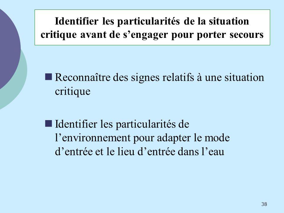 Identifier les particularités de la situation critique avant de sengager pour porter secours Reconnaître des signes relatifs à une situation critique