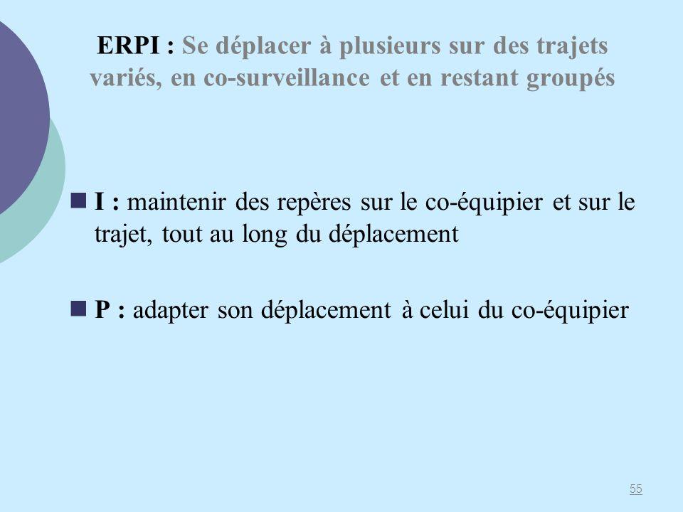 ERPI : Se déplacer à plusieurs sur des trajets variés, en co-surveillance et en restant groupés I : maintenir des repères sur le co-équipier et sur le trajet, tout au long du déplacement P : adapter son déplacement à celui du co-équipier 55