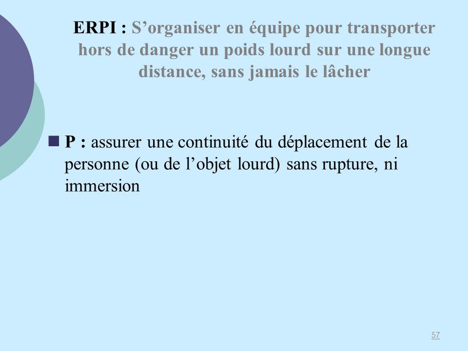 ERPI : Sorganiser en équipe pour transporter hors de danger un poids lourd sur une longue distance, sans jamais le lâcher P : assurer une continuité d