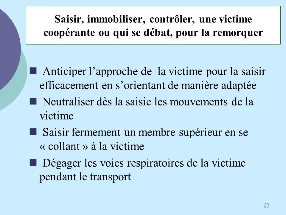 Saisir, immobiliser, contrôler, une victime coopérante ou qui se débat, pour la remorquer Anticiper lapproche de la victime pour la saisir efficacemen