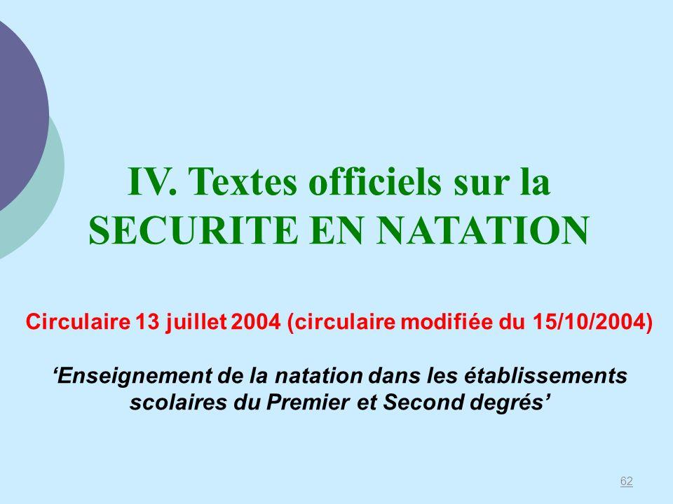 62 IV. Textes officiels sur la SECURITE EN NATATION Circulaire 13 juillet 2004 (circulaire modifiée du 15/10/2004) Enseignement de la natation dans le