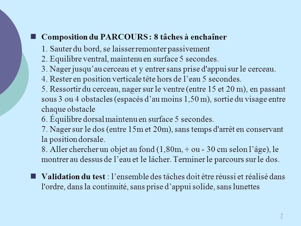 Composition du PARCOURS : 8 tâches à enchaîner 1. Sauter du bord, se laisser remonter passivement 2. Equilibre ventral, maintenu en surface 5 secondes