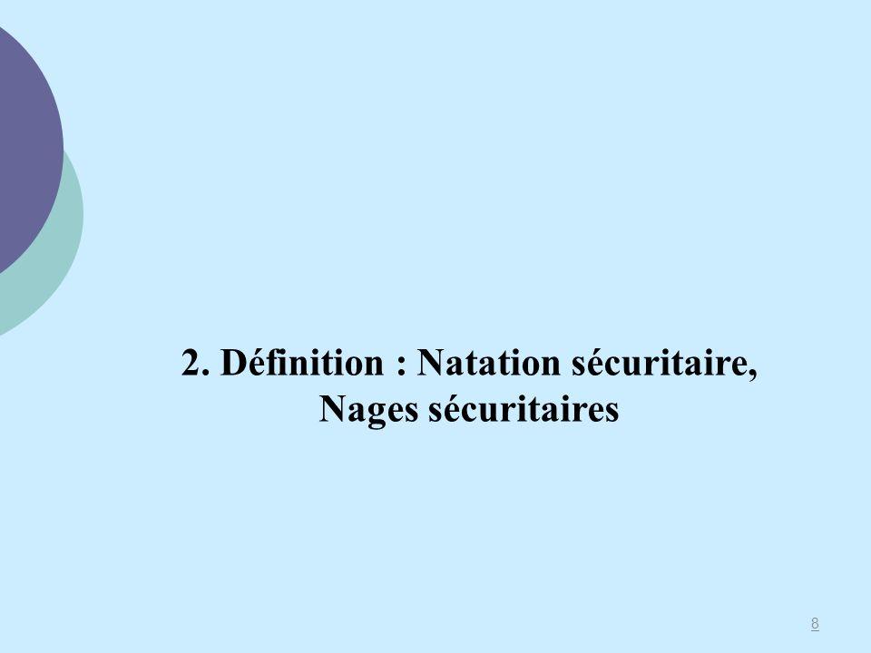 8 2. Définition : Natation sécuritaire, Nages sécuritaires